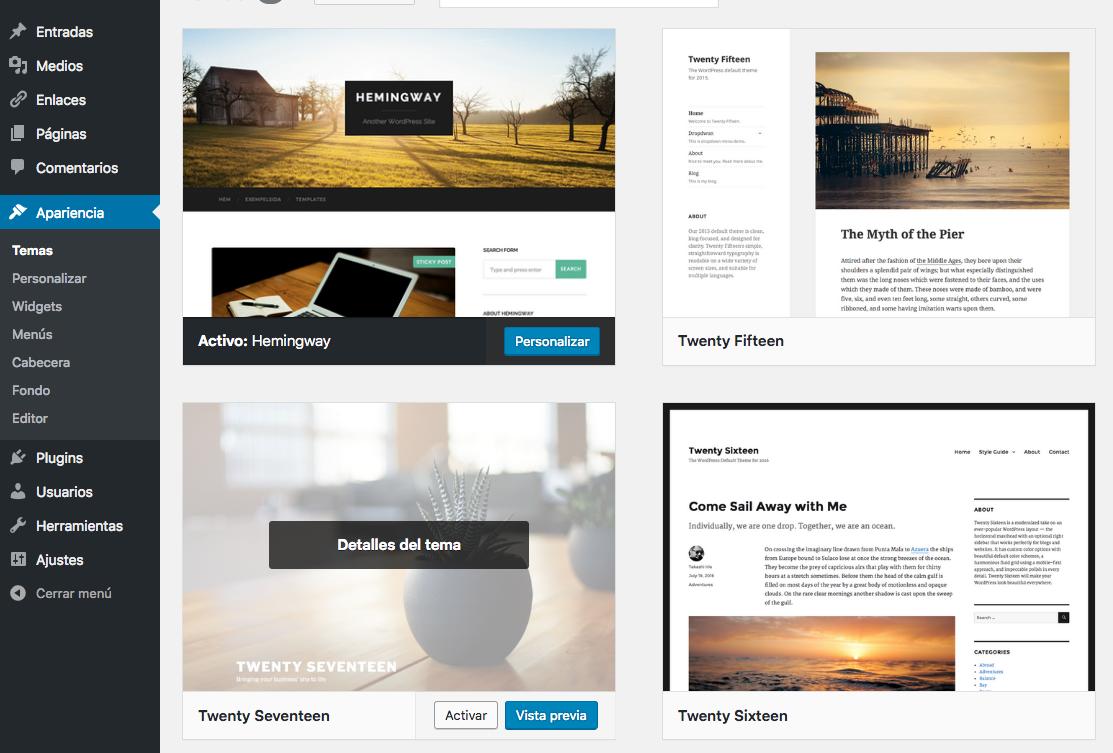 Activar twenty seventeen WordPress