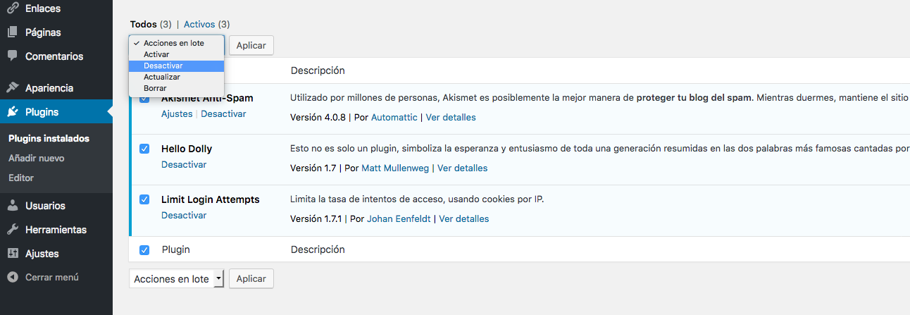 Desactivar plugins WordPress