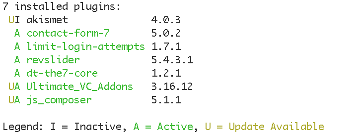 wp-cli wp plugin status